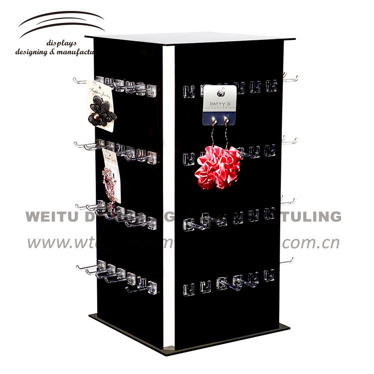 WJ-151 --2017 weitu black white color acrylic jewelry display stand/acrylic necklace display/standing earrings display