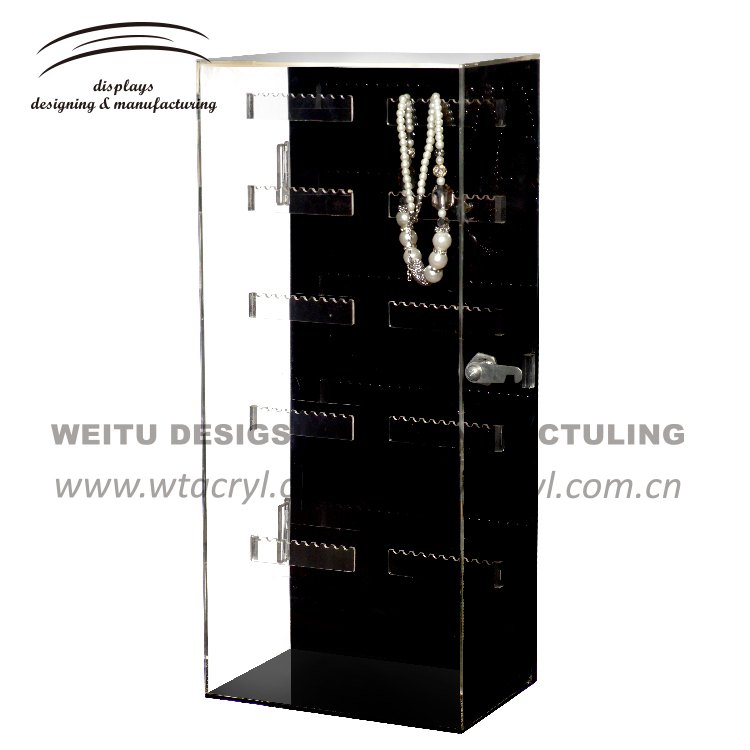 WJ-182--black transparency color acrylic jewelry display stand/acrylic display/standing necklace display